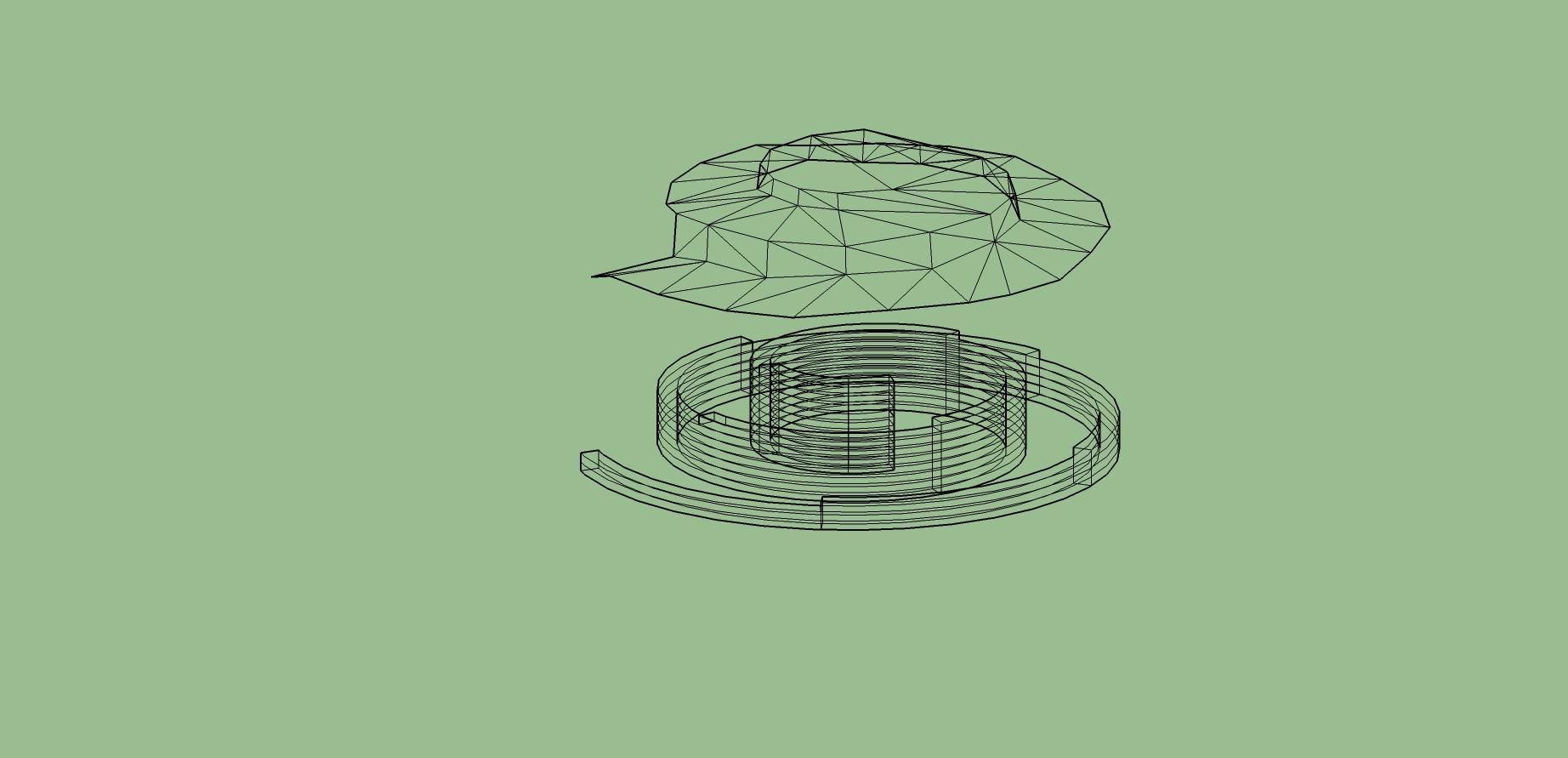 Tässä muurikiville sopivaksi lohkottu malli alla. Päällä spiraalin sisälle tulevan maanpinnan mallinnos.